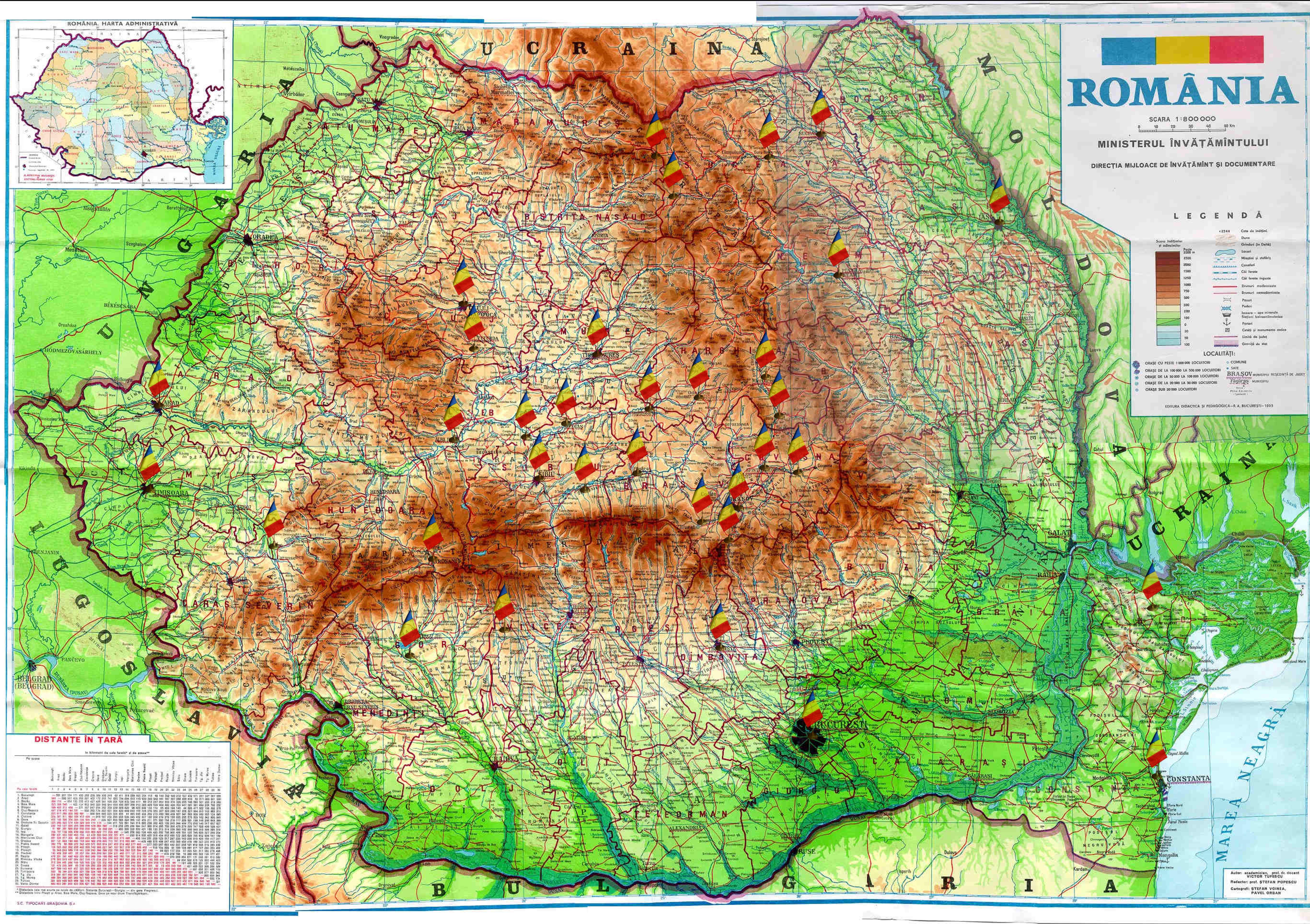 Harta centrelor nationale de informare si promovare turistica